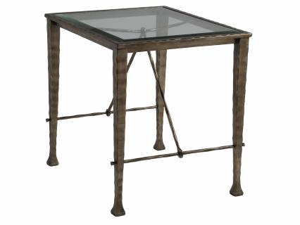 Cortona End Table W Glass Top